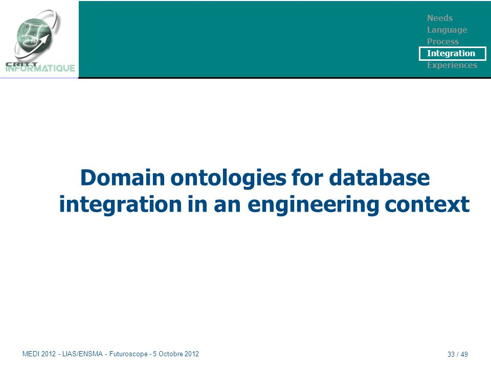 Domain ontologies for database integration in an engineering context Needs Language Process Integration Experiences MEDI 2012 - LIAS/ENSMA - Futurosco