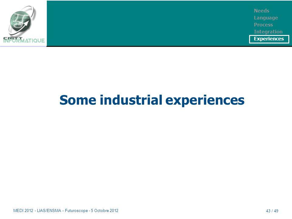 Some industrial experiences Needs Language Process Integration Experiences MEDI 2012 - LIAS/ENSMA - Futuroscope - 5 Octobre 2012 43 / 49