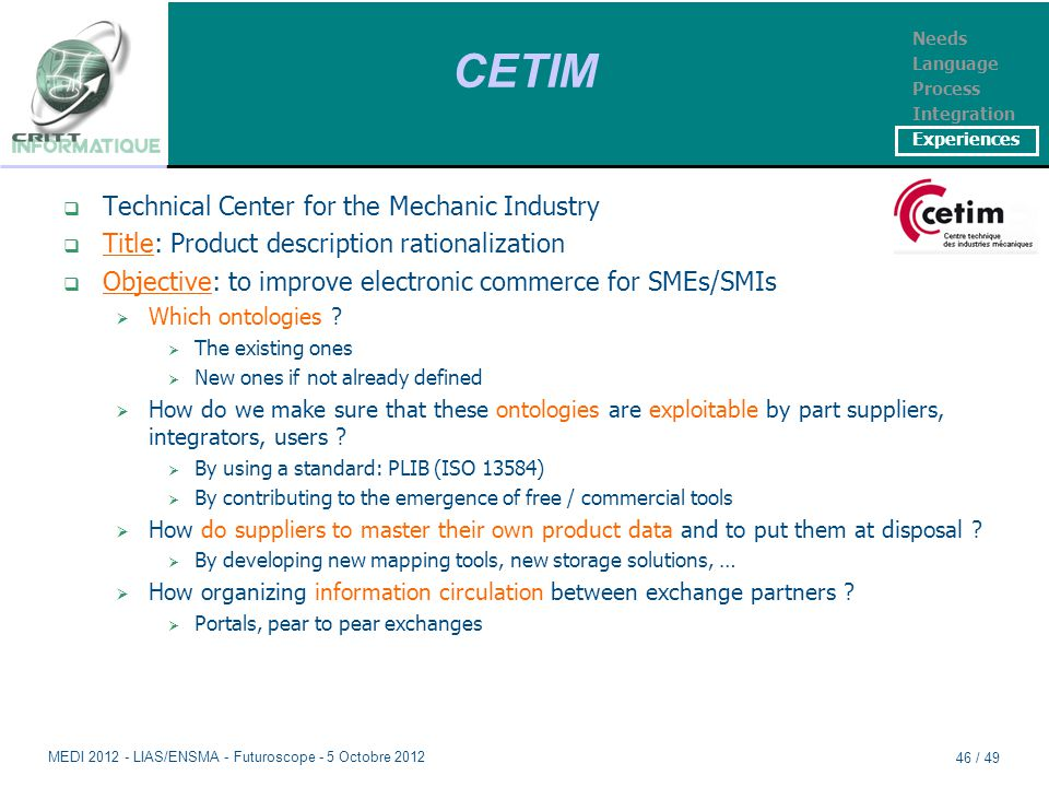 CETIM  Technical Center for the Mechanic Industry  Title: Product description rationalization  Objective: to improve electronic commerce for SMEs/SMIs  Which ontologies .