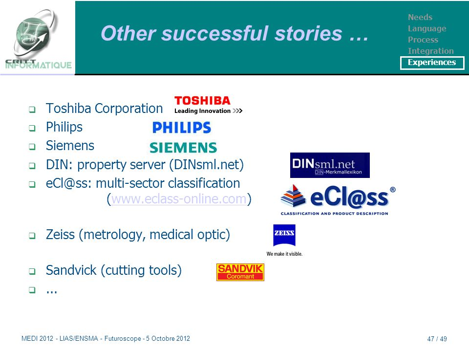 Other successful stories …  Toshiba Corporation  Philips  Siemens  DIN: property server (DINsml.net)  eCl@ss: multi-sector classification (www.eclass-online.com)www.eclass-online.com  Zeiss (metrology, medical optic)  Sandvick (cutting tools) ...