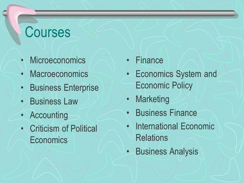 Courses Microeconomics Macroeconomics Business Enterprise Business Law Accounting Criticism of Political Economics Finance Economics System and Economic Policy Marketing Business Finance International Economic Relations Business Analysis