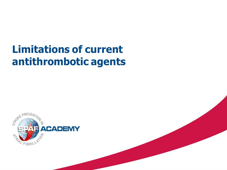 Limitations of current antithrombotic agents