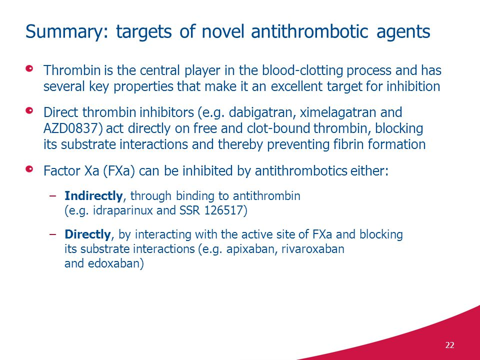 22 Summary: targets of novel antithrombotic agents Thrombin is the central player in the blood-clotting process and has several key properties that make it an excellent target for inhibition Direct thrombin inhibitors (e.g.