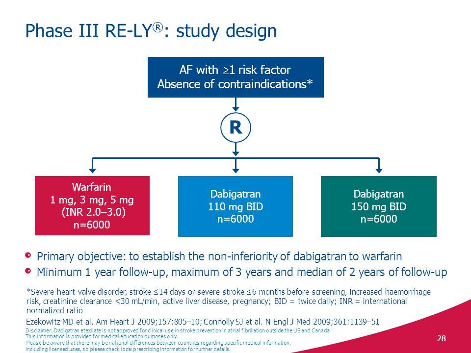 28 Phase III RE-LY ® : study design Ezekowitz MD et al.