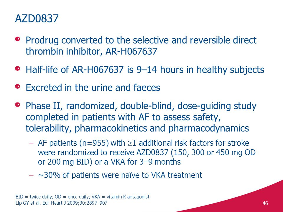 46 AZD0837 Prodrug converted to the selective and reversible direct thrombin inhibitor, AR-H067637 Half-life of AR-H067637 is 9–14 hours in healthy subjects Excreted in the urine and faeces Phase II, randomized, double-blind, dose-guiding study completed in patients with AF to assess safety, tolerability, pharmacokinetics and pharmacodynamics –AF patients (n=955) with  1 additional risk factors for stroke were randomized to receive AZD0837 (150, 300 or 450 mg OD or 200 mg BID) or a VKA for 3–9 months –~30% of patients were naïve to VKA treatment Lip GY et al.