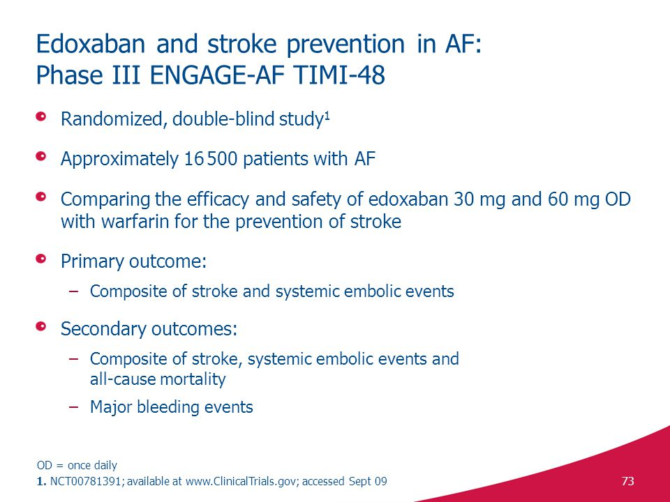 73 Edoxaban and stroke prevention in AF: Phase III ENGAGE-AF TIMI-48 Randomized, double-blind study 1 Approximately 16 500 patients with AF Comparing the efficacy and safety of edoxaban 30 mg and 60 mg OD with warfarin for the prevention of stroke Primary outcome: –Composite of stroke and systemic embolic events Secondary outcomes: –Composite of stroke, systemic embolic events and all-cause mortality –Major bleeding events 1.