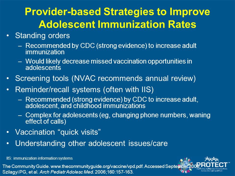 Provider-based Strategies to Improve Adolescent Immunization Rates Standing orders –Recommended by CDC (strong evidence) to increase adult immunizatio