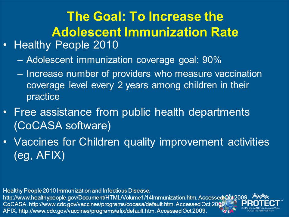 The Goal: To Increase the Adolescent Immunization Rate Healthy People 2010 –Adolescent immunization coverage goal: 90% –Increase number of providers w