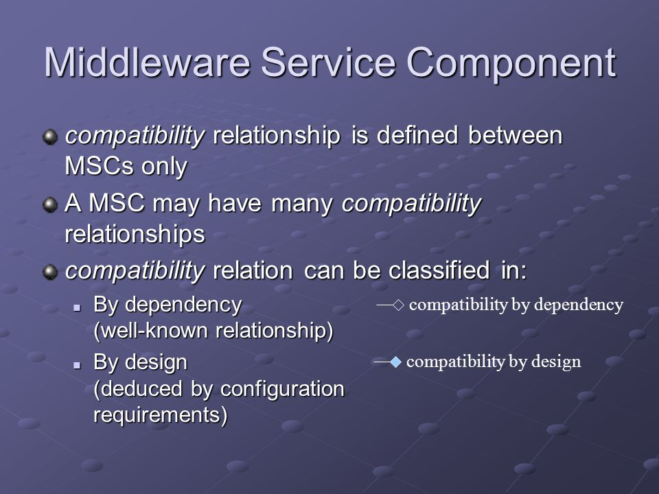 Middleware Service Component compatibility relationship is defined between MSCs only A MSC may have many compatibility relationships compatibility relation can be classified in: By dependency (well-known relationship) By dependency (well-known relationship) By design (deduced by configuration requirements) By design (deduced by configuration requirements) compatibility by dependency compatibility by design