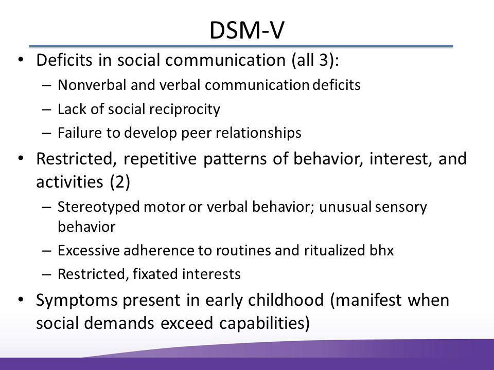 DSM-V Deficits in social communication (all 3): – Nonverbal and verbal communication deficits – Lack of social reciprocity – Failure to develop peer relationships Restricted, repetitive patterns of behavior, interest, and activities (2) – Stereotyped motor or verbal behavior; unusual sensory behavior – Excessive adherence to routines and ritualized bhx – Restricted, fixated interests Symptoms present in early childhood (manifest when social demands exceed capabilities)