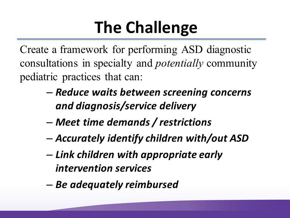 The Challenge – Reduce waits between screening concerns and diagnosis/service delivery – Meet time demands / restrictions – Accurately identify children with/out ASD – Link children with appropriate early intervention services – Be adequately reimbursed Create a framework for performing ASD diagnostic consultations in specialty and potentially community pediatric practices that can: