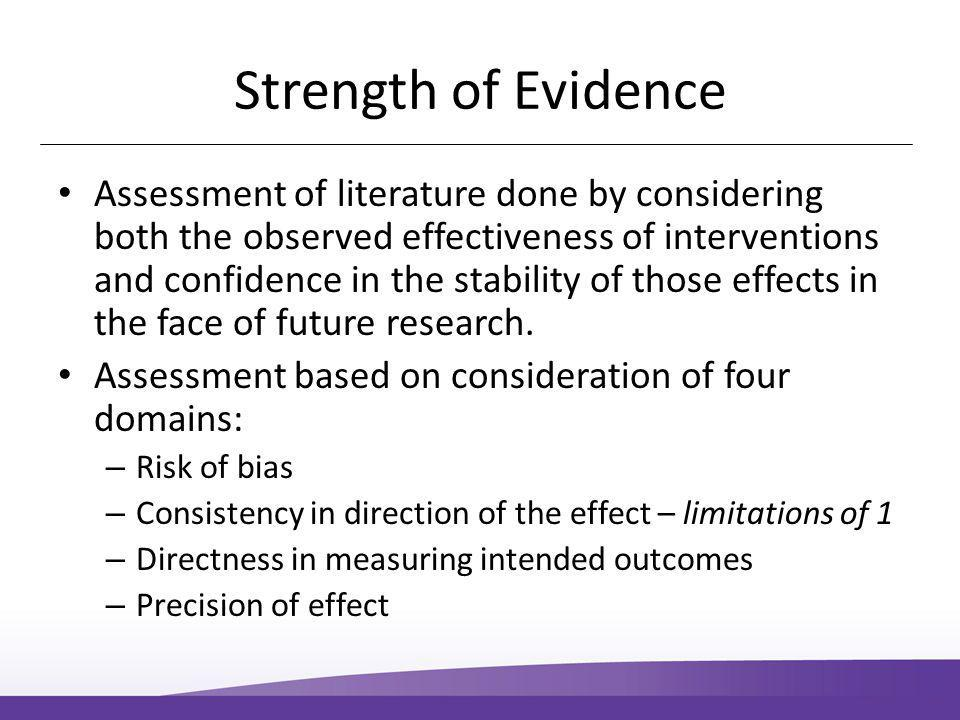 Strength of Evidence Assessment of literature done by considering both the observed effectiveness of interventions and confidence in the stability of those effects in the face of future research.
