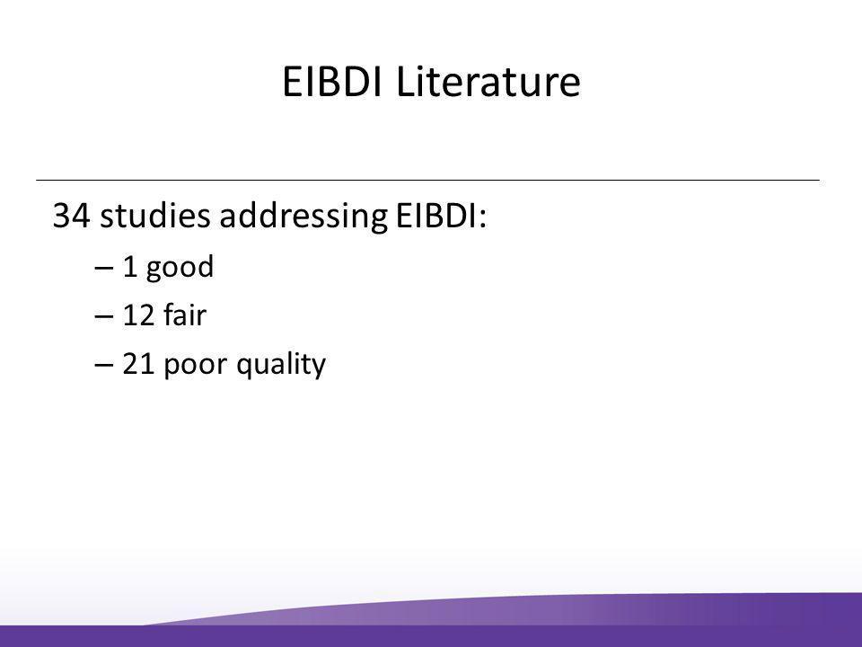 EIBDI Literature 34 studies addressing EIBDI: – 1 good – 12 fair – 21 poor quality