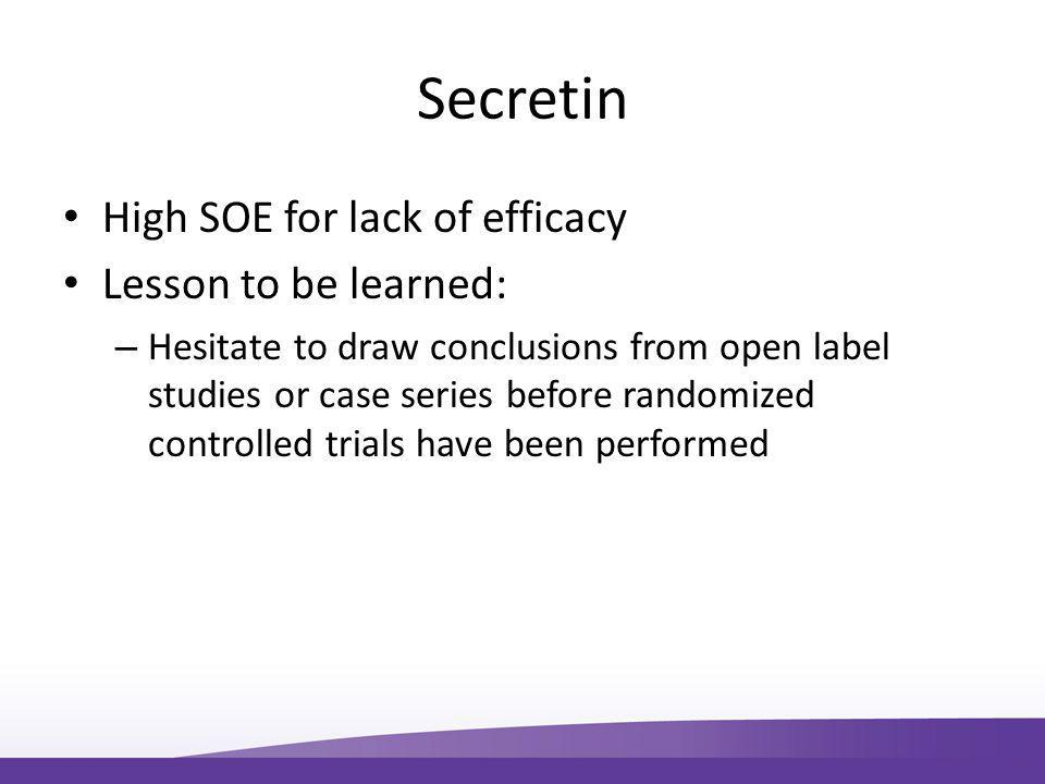 Secretin High SOE for lack of efficacy Lesson to be learned: – Hesitate to draw conclusions from open label studies or case series before randomized controlled trials have been performed