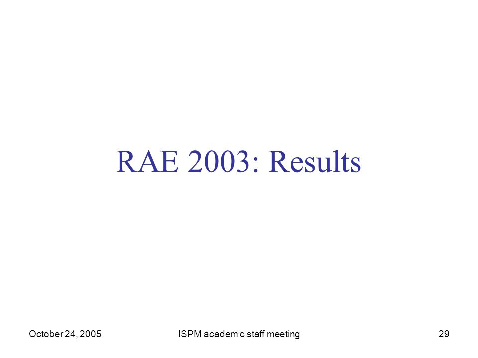 October 24, 2005ISPM academic staff meeting29 RAE 2003: Results