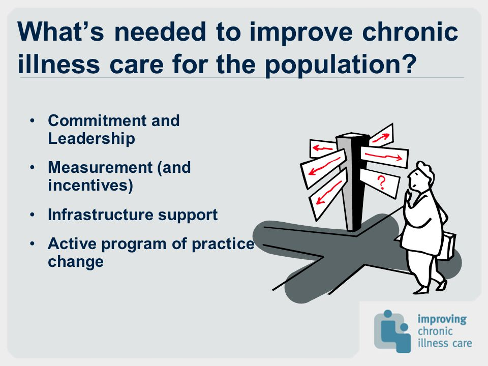 What's needed to improve chronic illness care for the population? Commitment and Leadership Measurement (and incentives) Infrastructure support Active