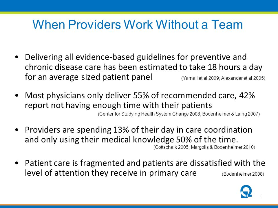 3 When Providers Work Without a Team Delivering all evidence-based guidelines for preventive and chronic disease care has been estimated to take 18 ho