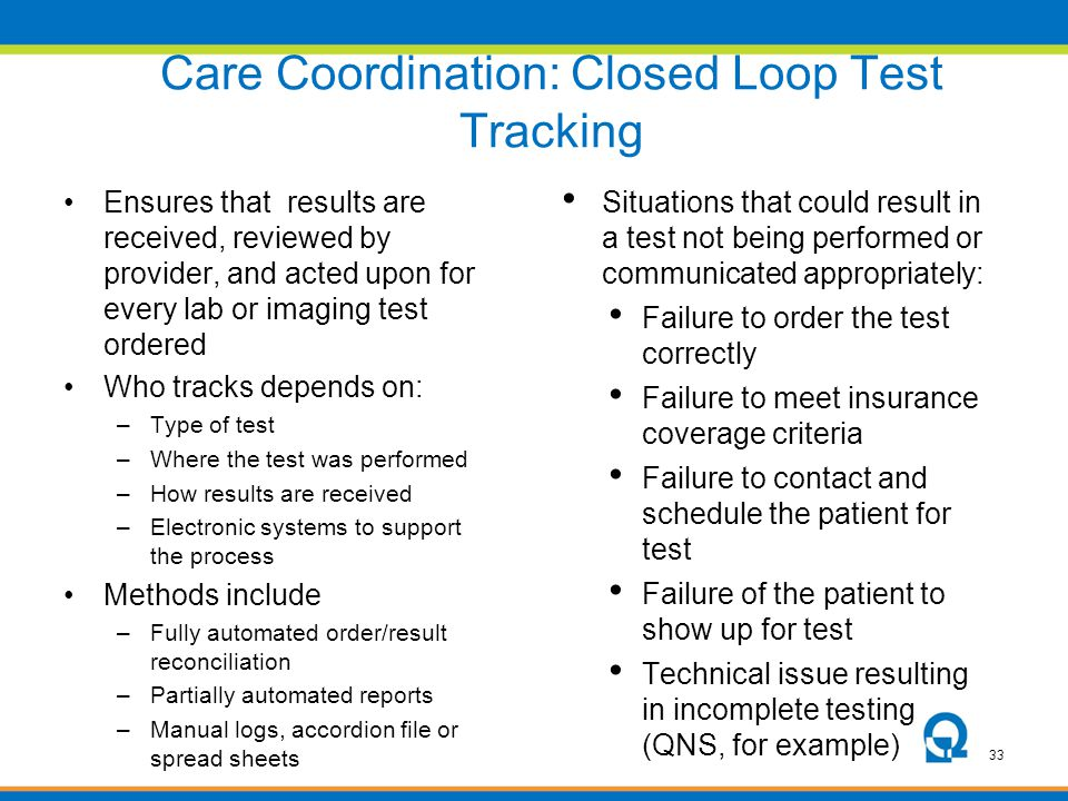33 Care Coordination: Closed Loop Test Tracking Ensures that results are received, reviewed by provider, and acted upon for every lab or imaging test