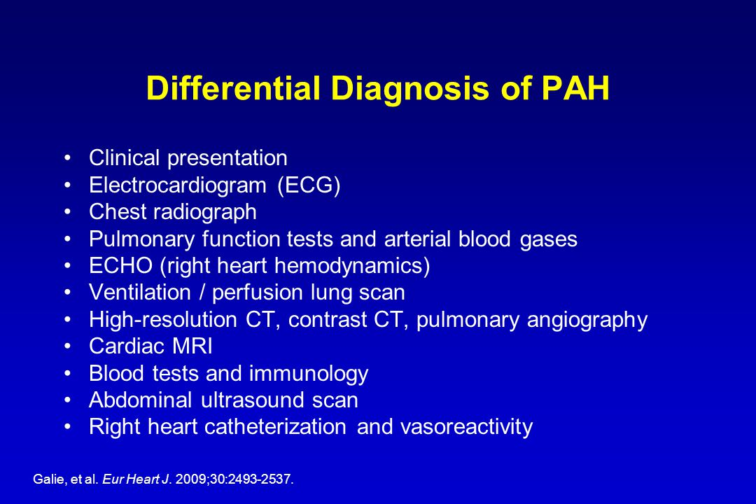 Differential Diagnosis of PAH Clinical presentation Electrocardiogram (ECG) Chest radiograph Pulmonary function tests and arterial blood gases ECHO (r