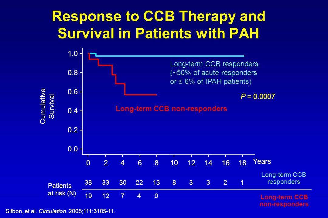 Years Long-term CCB responders (~50% of acute responders or ≤ 6% of IPAH patients) Long-term CCB non-responders 383330221383321 1912740 Patients at ri