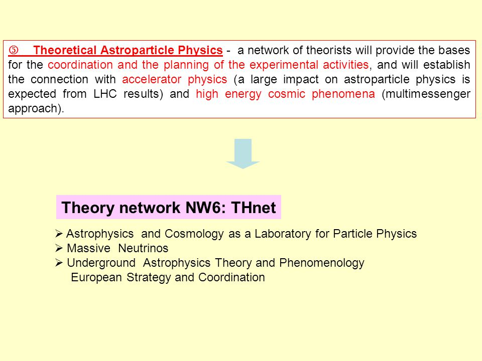 Theoretical Astroparticle Physics - a network of theorists will provide the bases for the coordination and the planning of the experimental activities, and will establish the connection with accelerator physics (a large impact on astroparticle physics is expected from LHC results) and high energy cosmic phenomena (multimessenger approach).