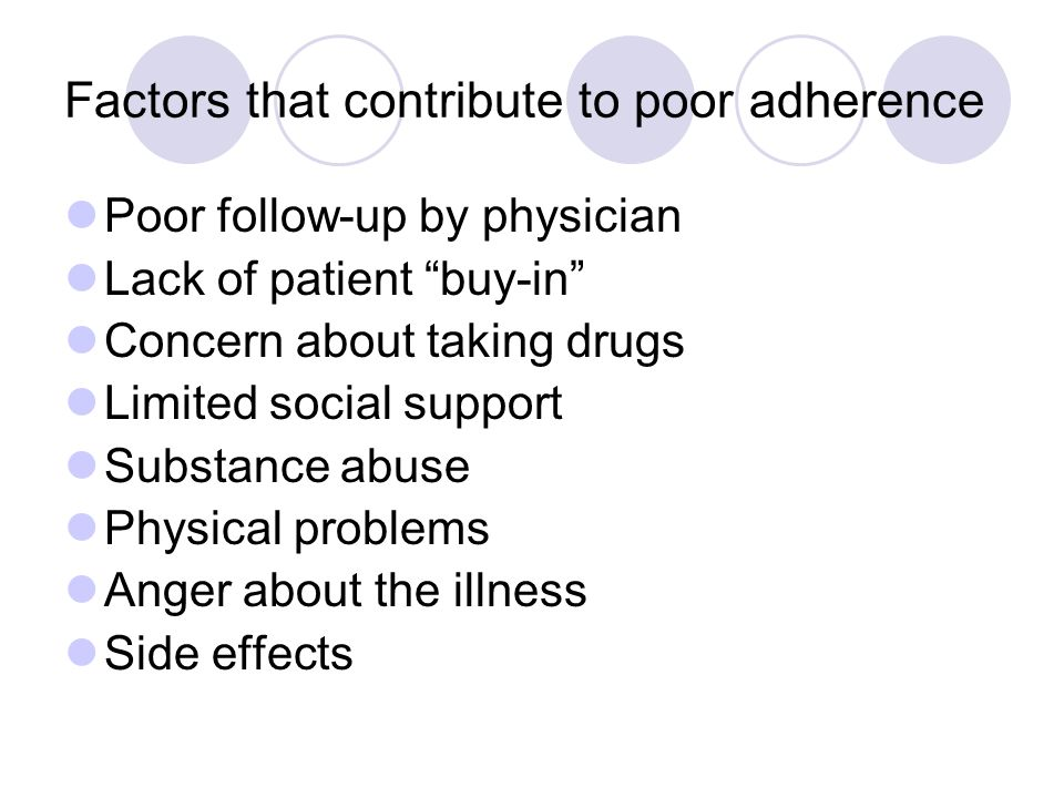 Factors that contribute to poor adherence Poor follow-up by physician Lack of patient buy-in Concern about taking drugs Limited social support Substance abuse Physical problems Anger about the illness Side effects