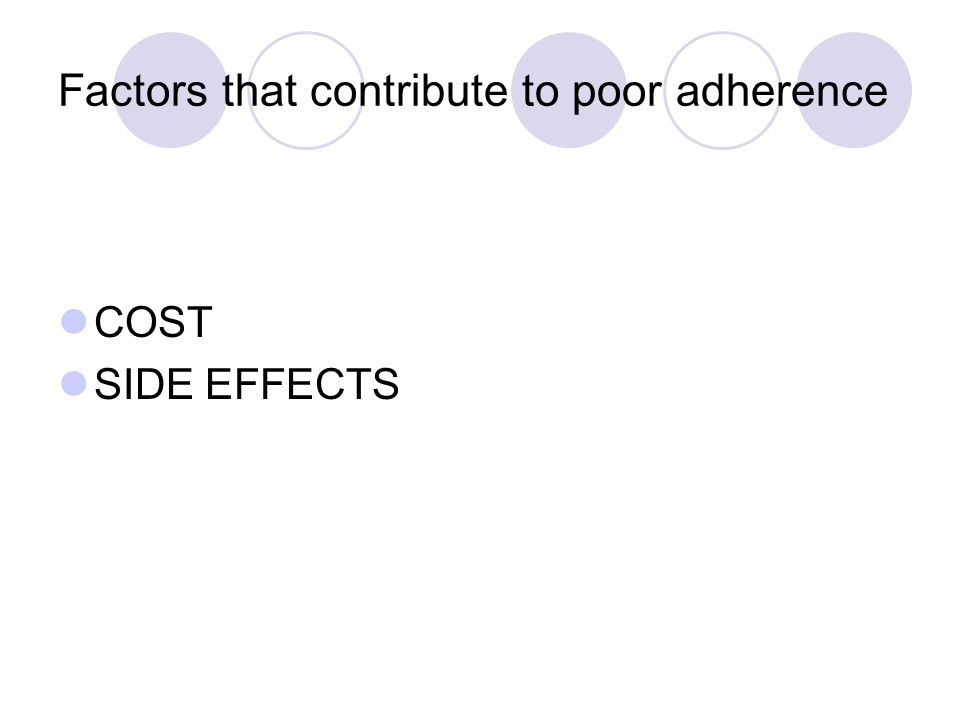Factors that contribute to poor adherence COST SIDE EFFECTS