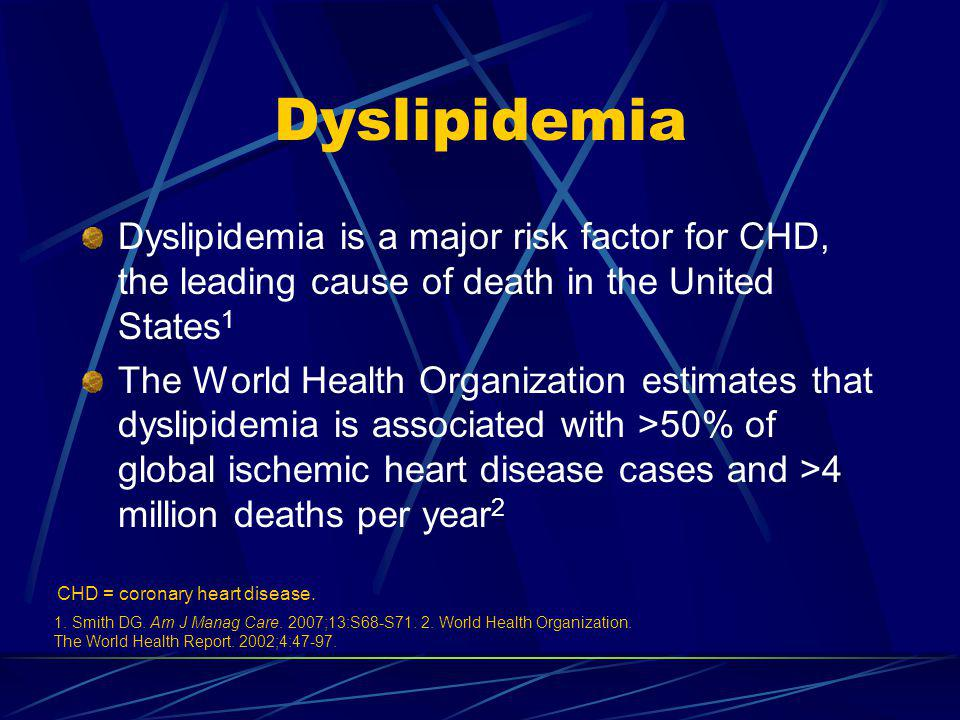 Atherogenic dyslipidemia is an important target of therapy for CV risk management, and commonly occurs in patients with the metabolic syndrome and/or diabetes A substantial proportion of patients with atherogenic dyslipidemia are not at lipid goals Guidelines recommend non-HDL-C as a secondary target in patients with atherogenic dyslipidemia, including combination therapy with a fibrate and statin Atherogenic Dyslipidemia as a Target of Therapy