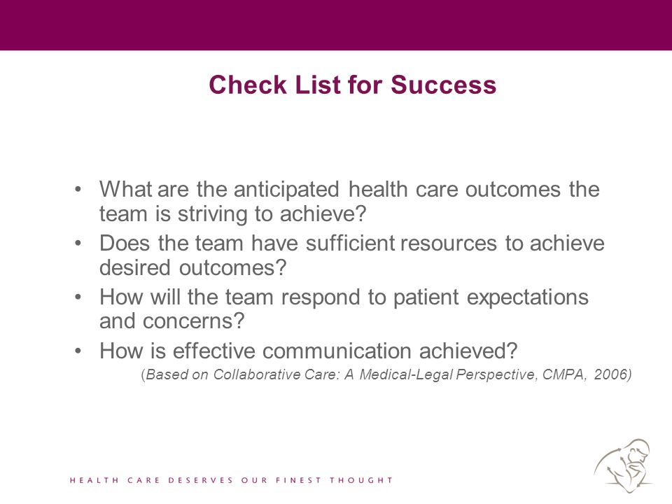 Check List for Success What are the anticipated health care outcomes the team is striving to achieve? Does the team have sufficient resources to achie