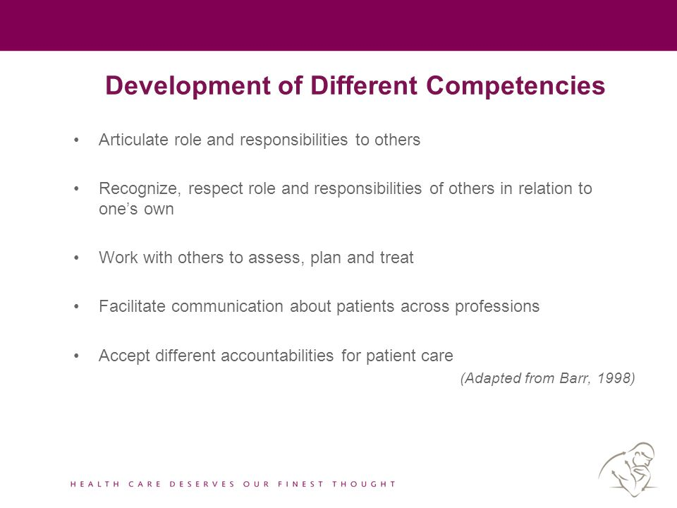 Development of Different Competencies Articulate role and responsibilities to others Recognize, respect role and responsibilities of others in relatio