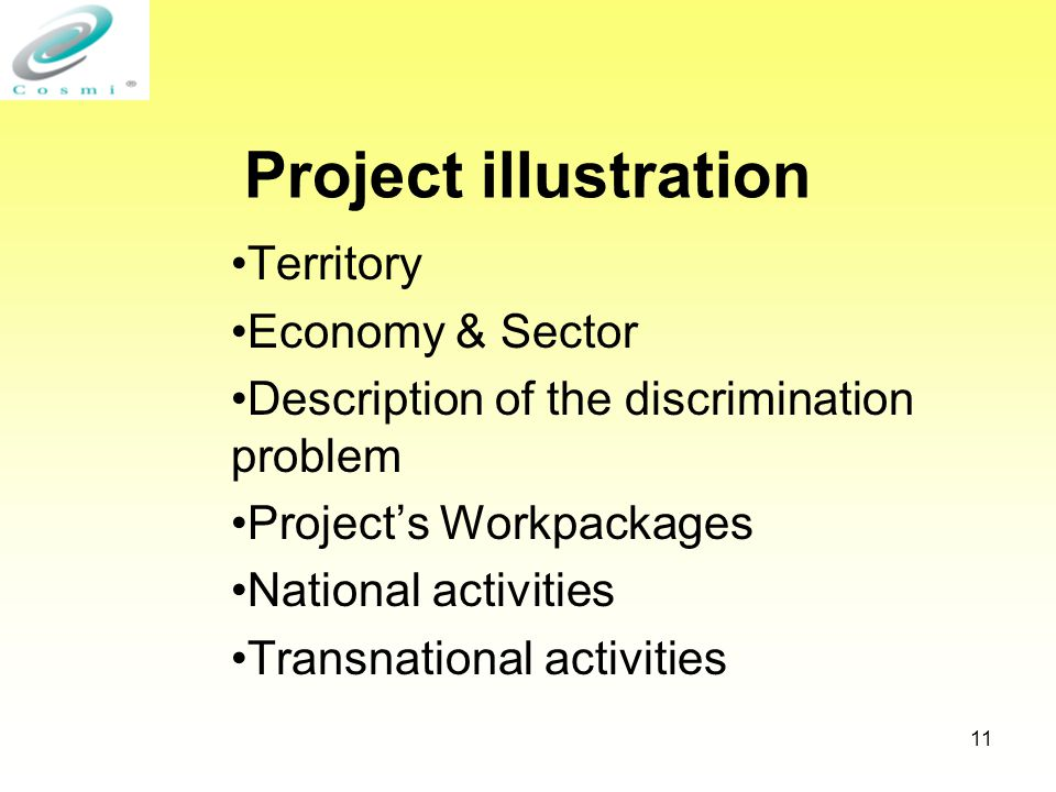 11 Project illustration Territory Economy & Sector Description of the discrimination problem Project's Workpackages National activities Transnational activities