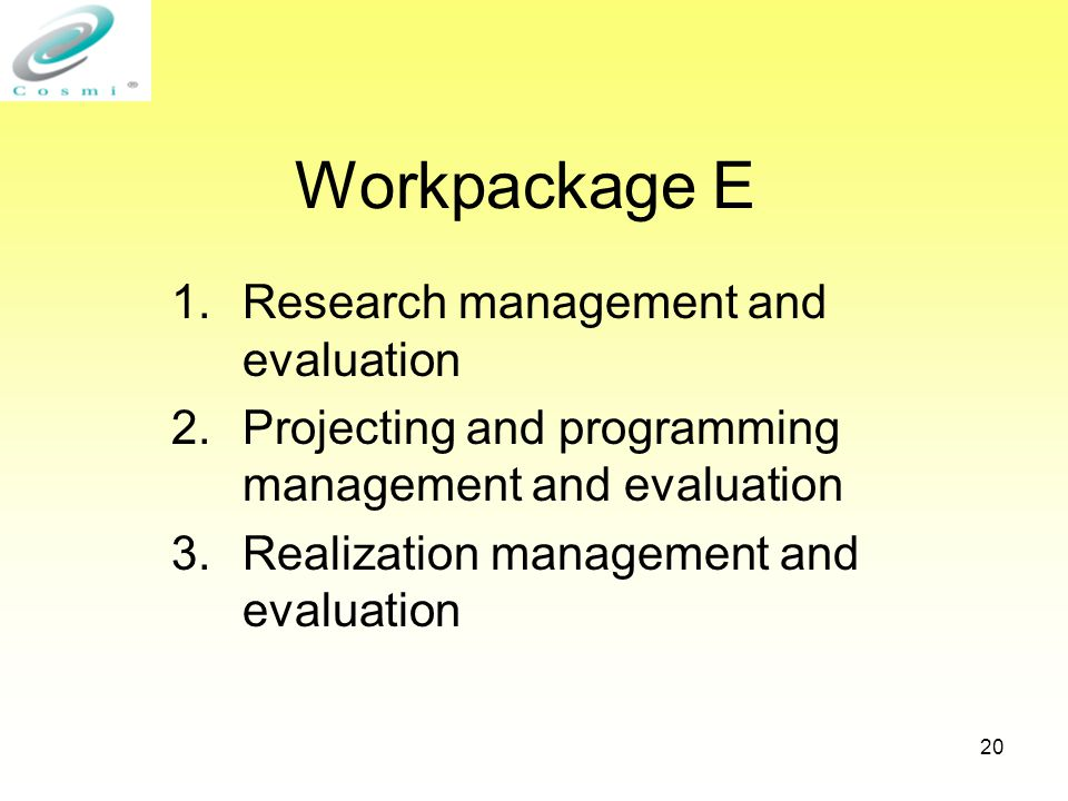 20 Workpackage E 1.Research management and evaluation 2.Projecting and programming management and evaluation 3.Realization management and evaluation