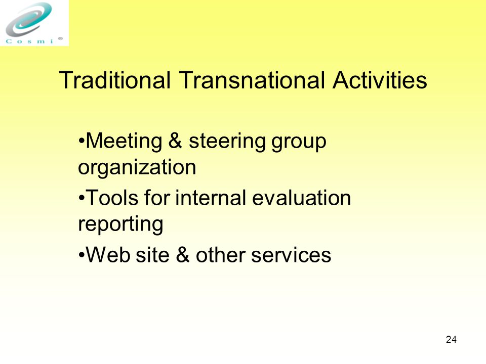 24 Traditional Transnational Activities Meeting & steering group organization Tools for internal evaluation reporting Web site & other services