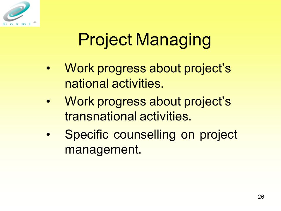 26 Project Managing Work progress about project's national activities.