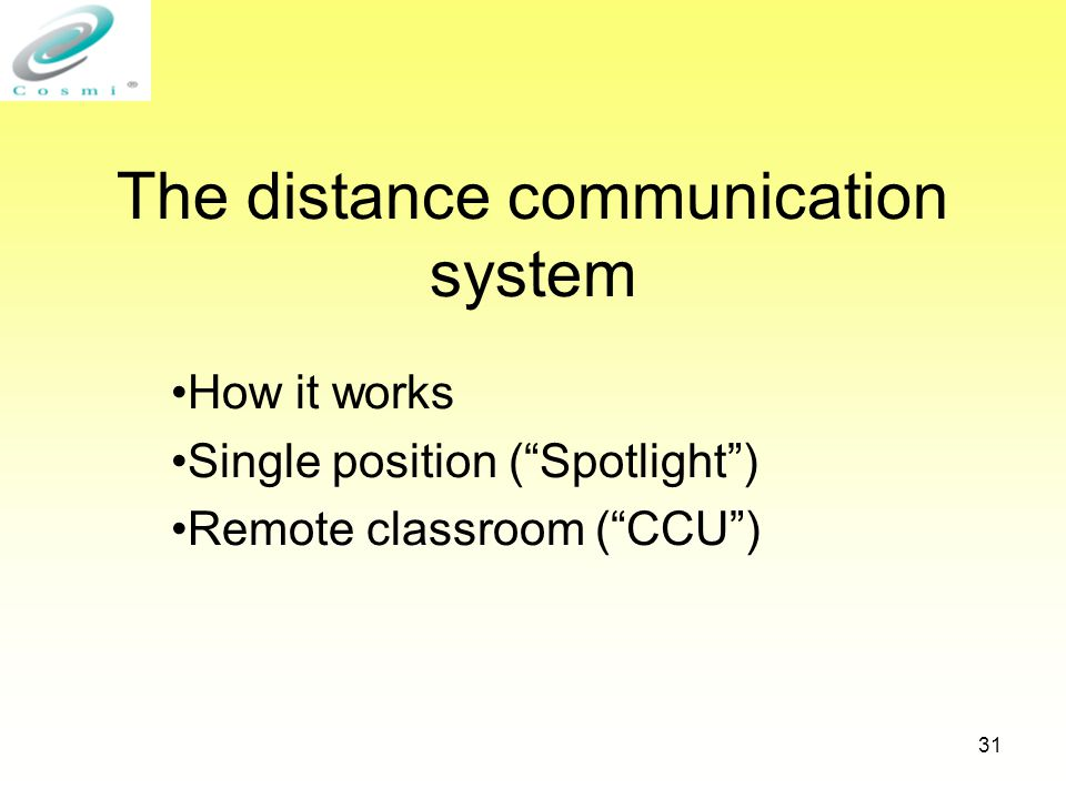 31 The distance communication system How it works Single position ( Spotlight ) Remote classroom ( CCU )