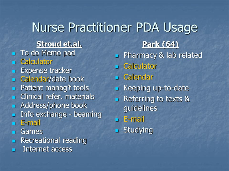 Nurse Practitioner PDA Usage Stroud et.al.