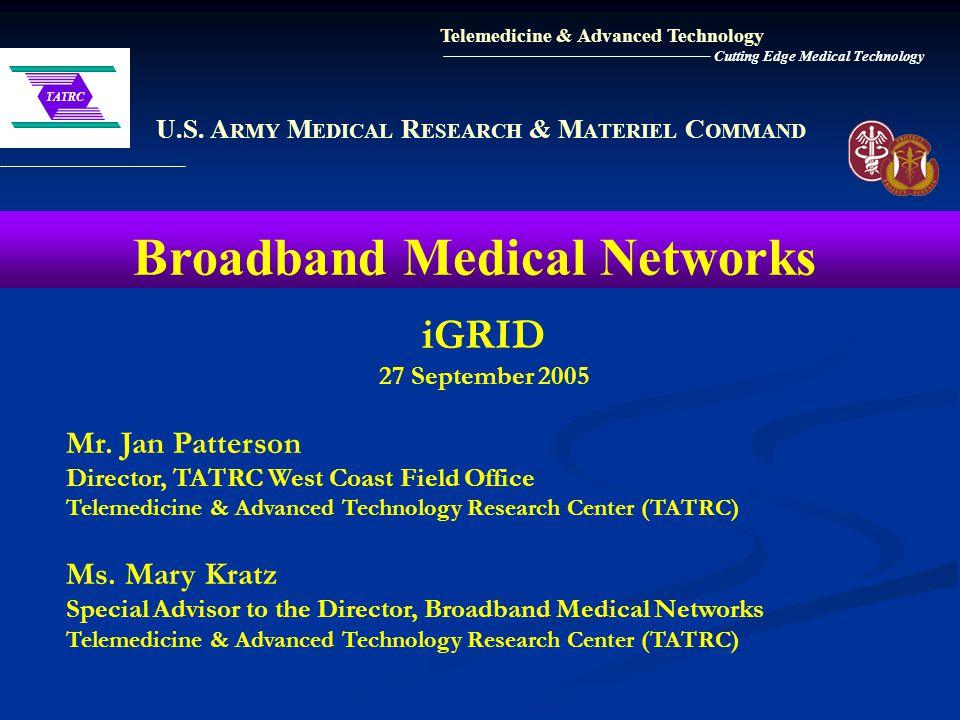 U.S. A RMY M EDICAL R ESEARCH & M ATERIEL C OMMAND Broadband Medical Networks Telemedicine & Advanced Technology Cutting Edge Medical Technology iGRID