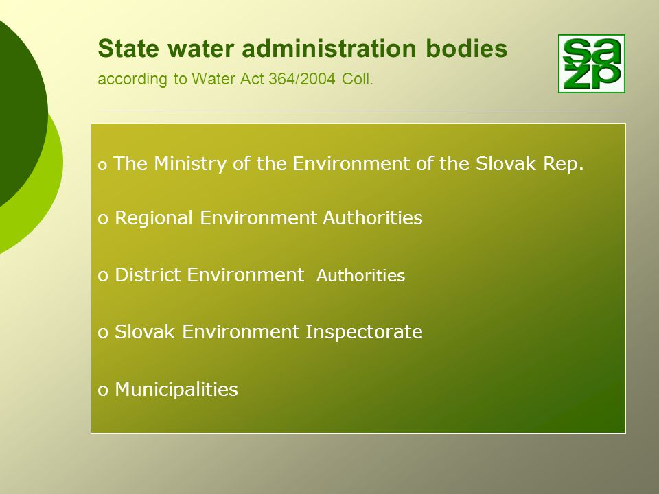 Dataflow - Reporting under Water Sector in the Slovak Rep.