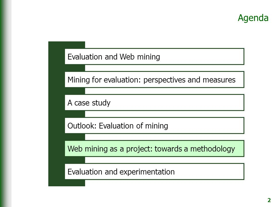 2 Agenda Mining for evaluation: perspectives and measures A case study Outlook: Evaluation of mining Web mining as a project: towards a methodology Evaluation and experimentation Evaluation and Web mining Web mining as a project: towards a methodology Evaluation and experimentation Evaluation and Web mining
