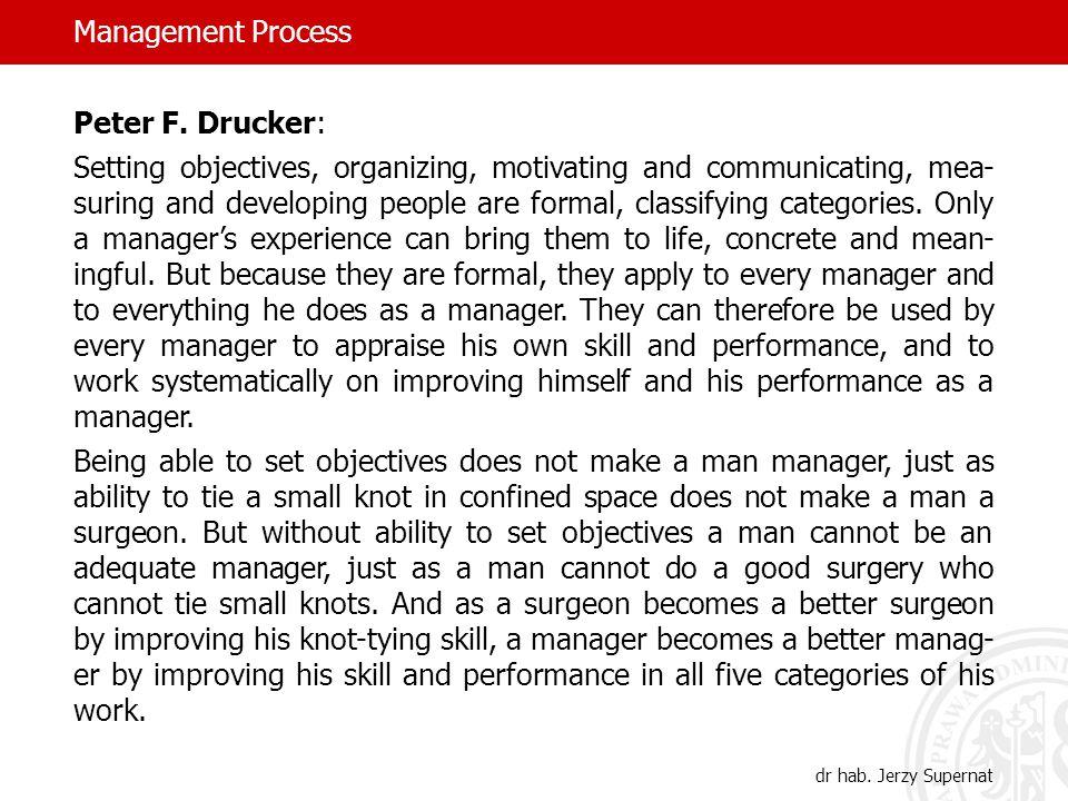 Management Process dr hab. Jerzy Supernat Peter F.