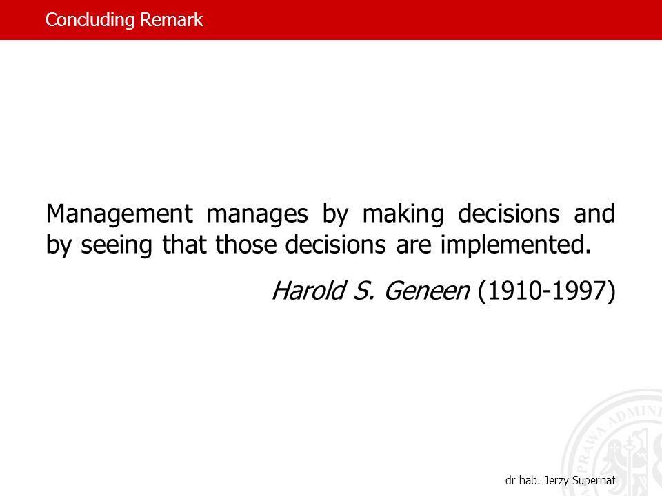 Concluding Remark dr hab.
