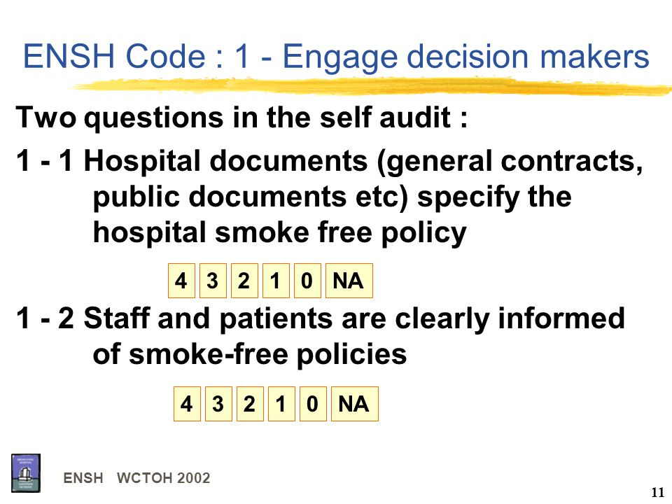 ENSH WCTOH 2002 11 ENSH Code : 1 - Engage decision makers Two questions in the self audit : 1 - 1 Hospital documents (general contracts, public documents etc) specify the hospital smoke free policy 1 - 2 Staff and patients are clearly informed of smoke-free policies 43210NA43210