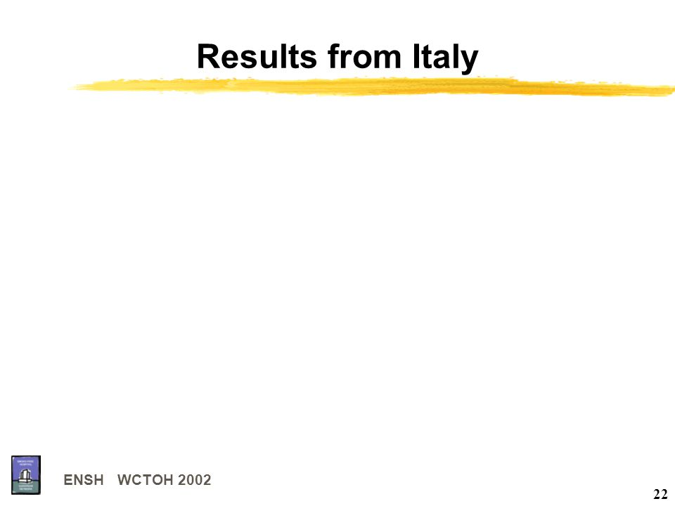 ENSH WCTOH 2002 22 Results from Italy
