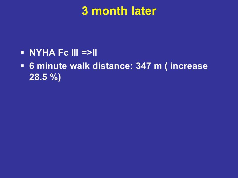 3 month later  NYHA Fc III =>II  6 minute walk distance: 347 m ( increase 28.5 %)
