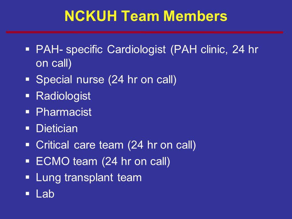 NCKUH Team Members  PAH- specific Cardiologist (PAH clinic, 24 hr on call)  Special nurse (24 hr on call)  Radiologist  Pharmacist  Dietician  C