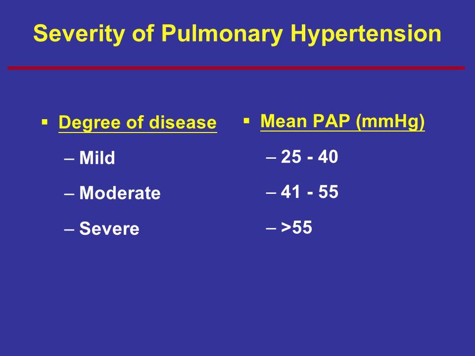 Severity of Pulmonary Hypertension  Degree of disease –Mild –Moderate –Severe  Mean PAP (mmHg) –25 - 40 –41 - 55 –>55