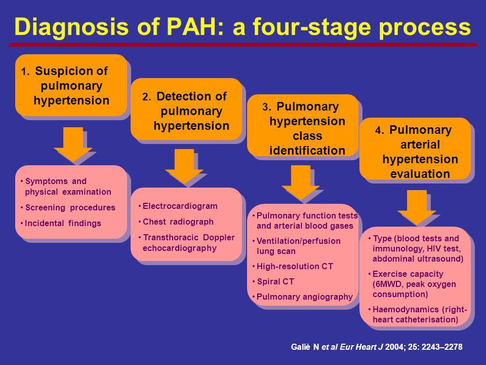 Diagnosis of PAH: a four-stage process Galiè N et al Eur Heart J 2004; 25: 2243–2278 1. Suspicion of pulmonary hypertension 2. Detection of pulmonary