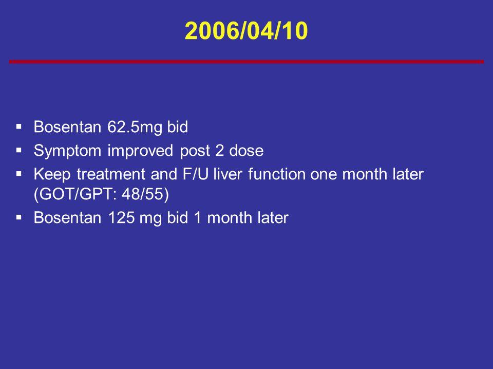 2006/04/10  Bosentan 62.5mg bid  Symptom improved post 2 dose  Keep treatment and F/U liver function one month later (GOT/GPT: 48/55)  Bosentan 12