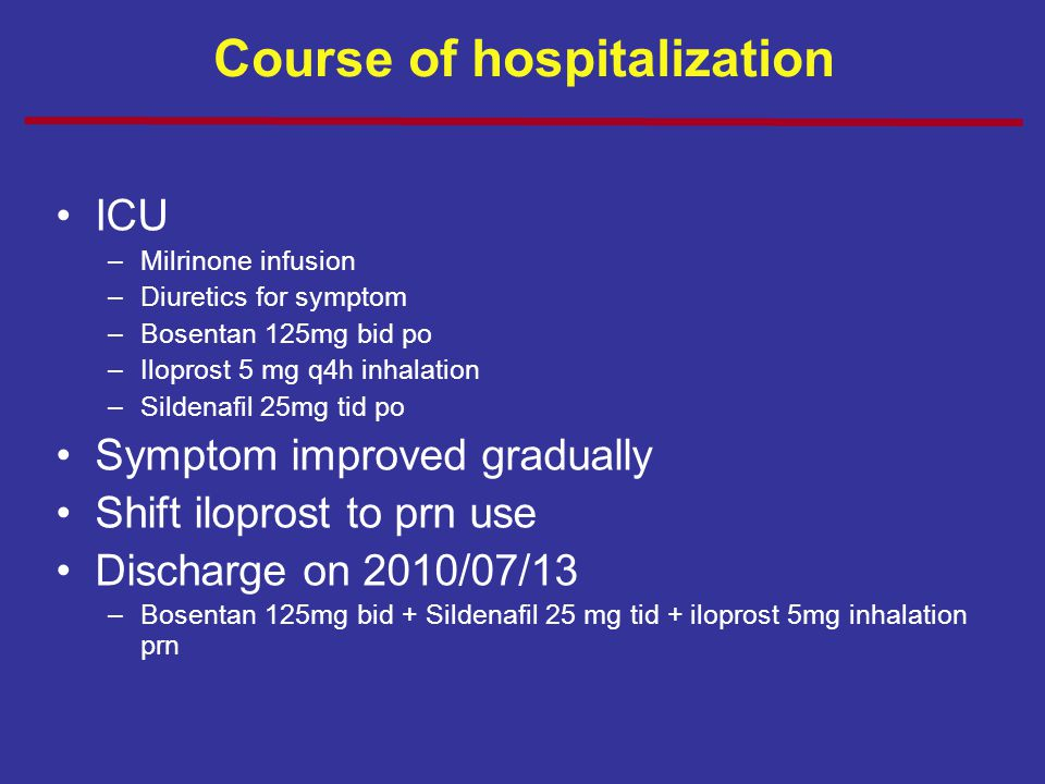 Course of hospitalization ICU –Milrinone infusion –Diuretics for symptom –Bosentan 125mg bid po –Iloprost 5 mg q4h inhalation –Sildenafil 25mg tid po