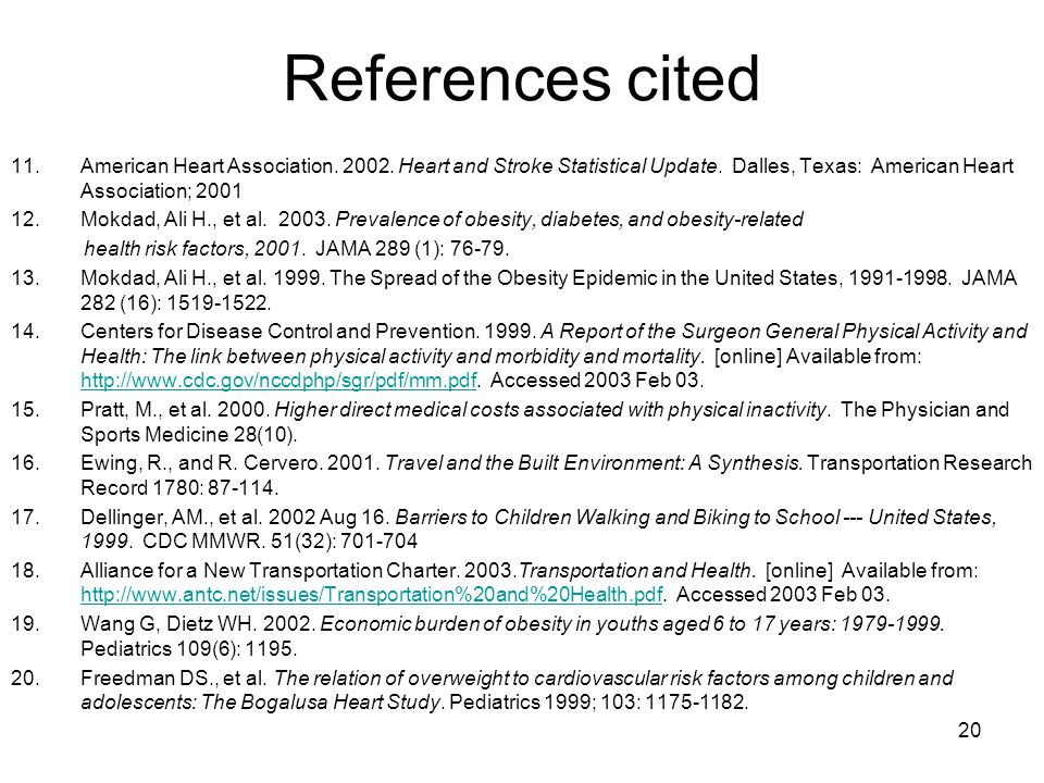 20 References cited 11.American Heart Association.
